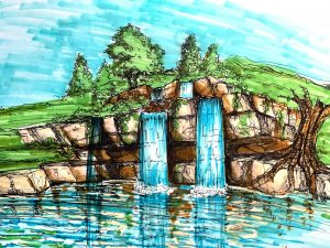 dugybear outdoor living Retaining Wall With Waterfall